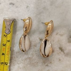 Anthropologie Jewelry - 18K Gold Plated Sea Cowrie Shell Drop Earrings